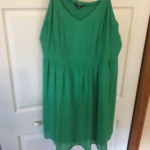 Torrid  4 sleeveless green dress w/empire waist